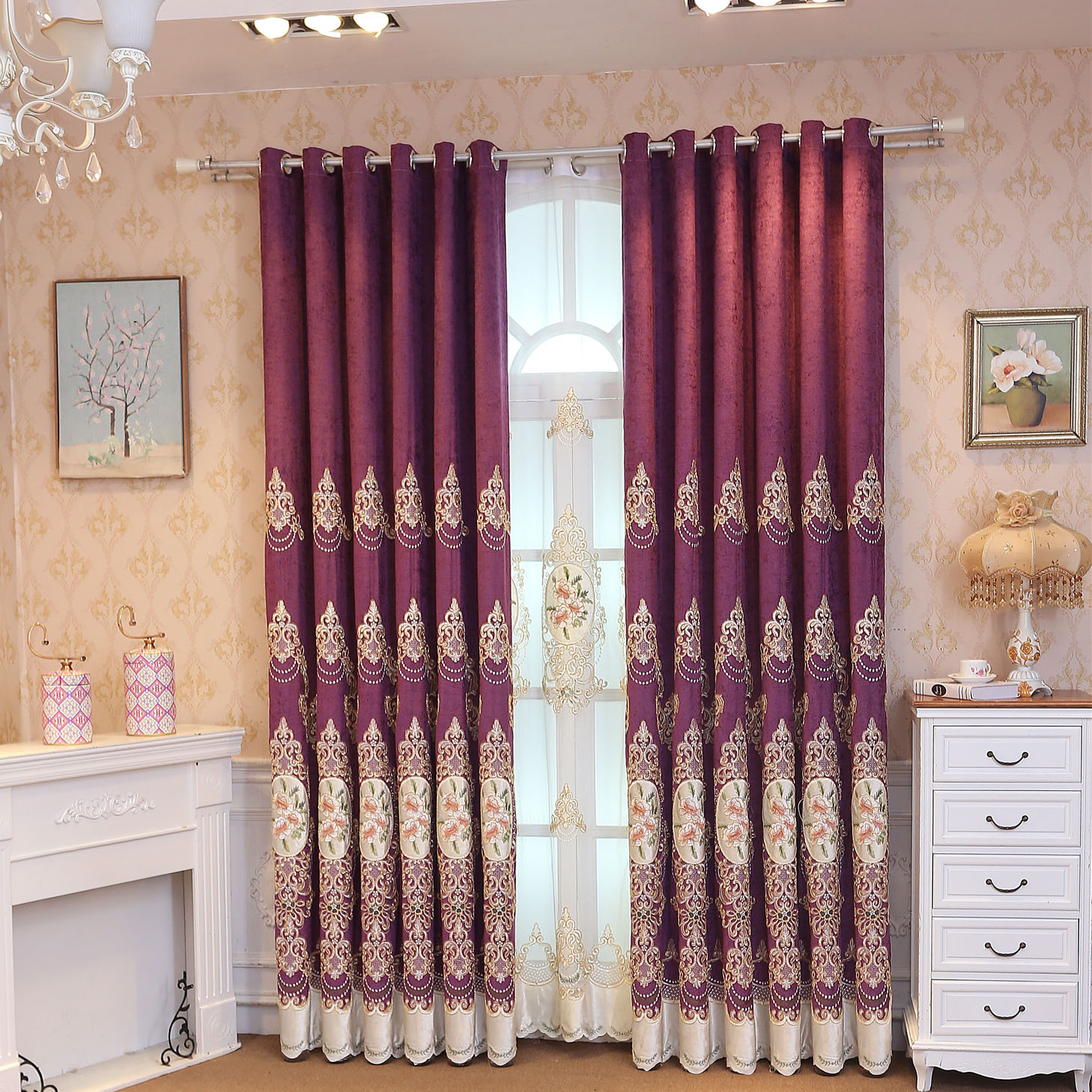 Slow soul europe coffee blue purple pinkfloral curtains - Blue and purple bedroom curtains ...
