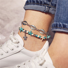 New Multi-Layer Turtle Starfish Pendant Anklets Charm Silver Color Beads Shell Anklet For Women
