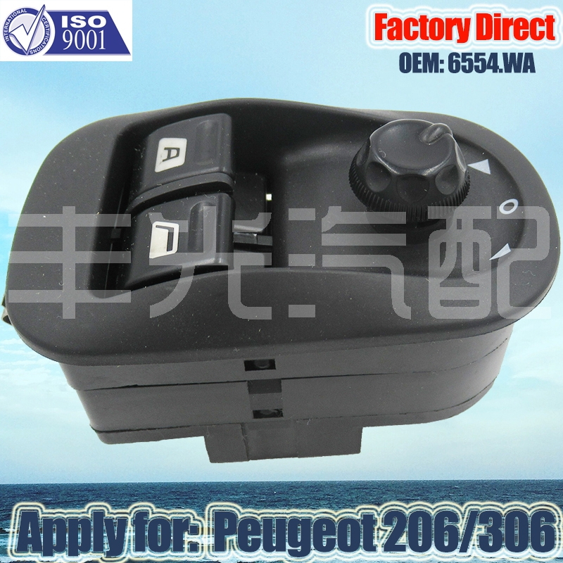 Factory Direct NEW Electric Power Window Switch Driver Side Lifter Window Apply For Peugeot 206 306 6554.WA