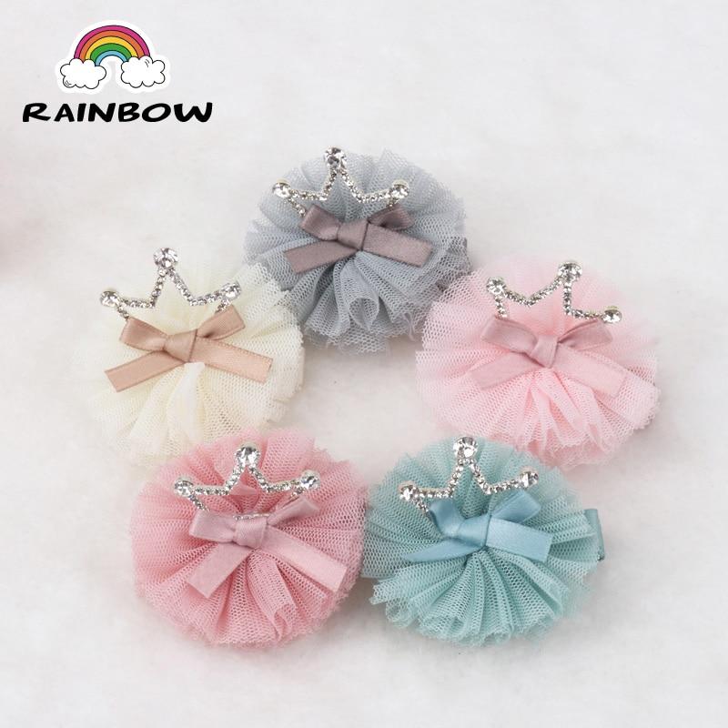 1pcs/set Fashion Crown Lace Flower Bowknot Hairpins Children Girls Hair Clips Decoration Handmade Barrettes Accessory Headwear