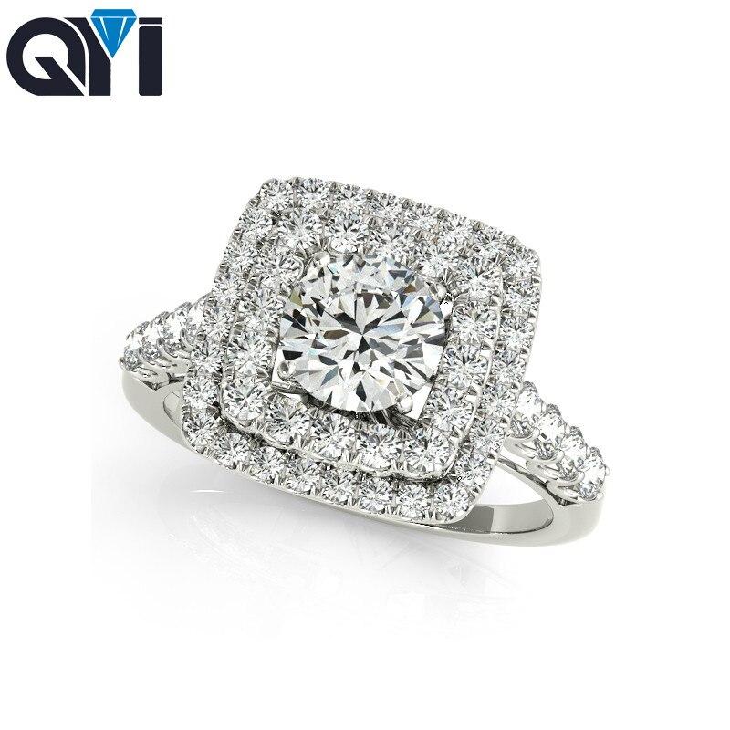 QYI fiançailles anneaux de mariage rond coupe 925 en argent Sterling simulé diamant bague ensemble conception Unique pour les femmes