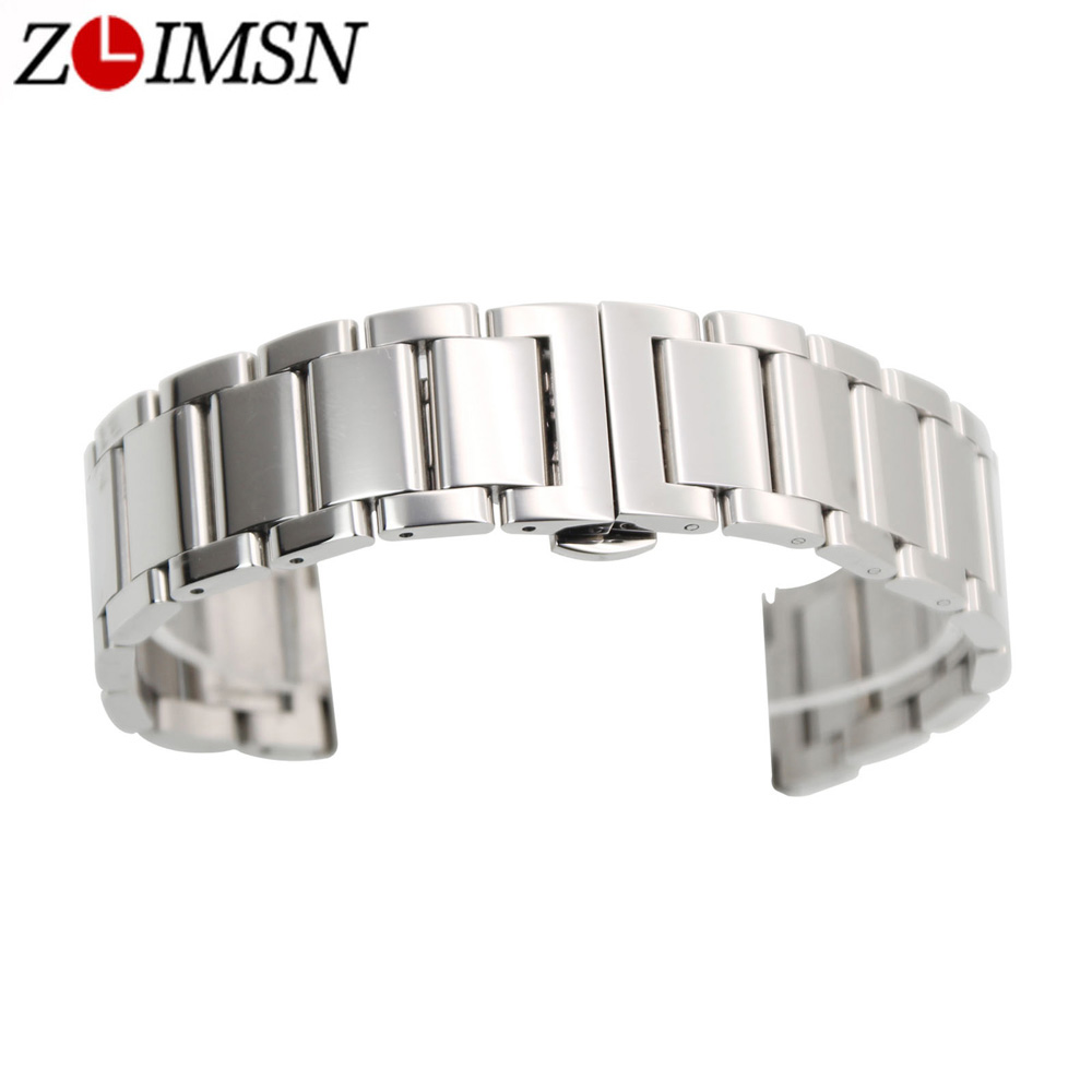 ZLIMSN Stainless Steel Bracelet Watch Bands Silver Black 20 22 24mm Replacement Flat End Butterfly Buckle Soild Links mini stainless steel handle cuticle fork silver
