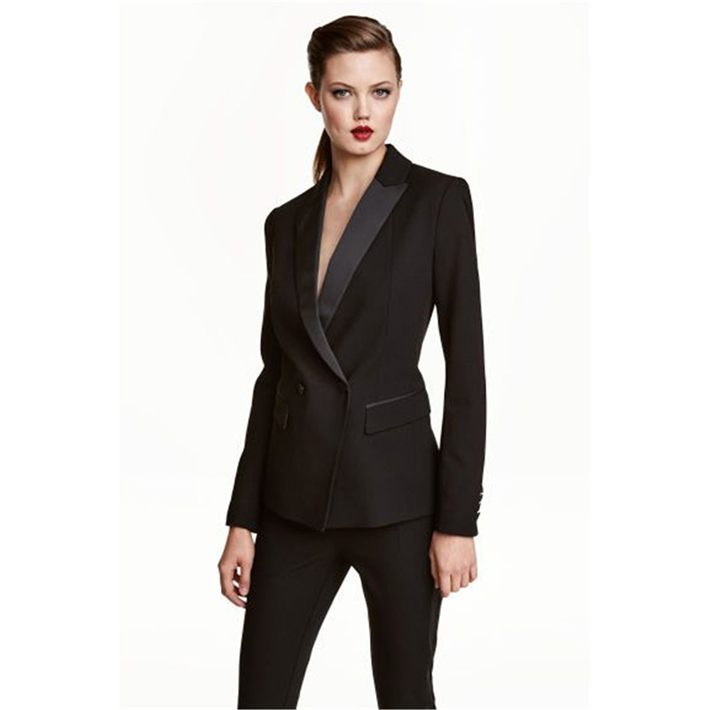 Womens Business Work Pant Suits Set Blazer Formal Slim OL Elegant Double Breasted Female ...