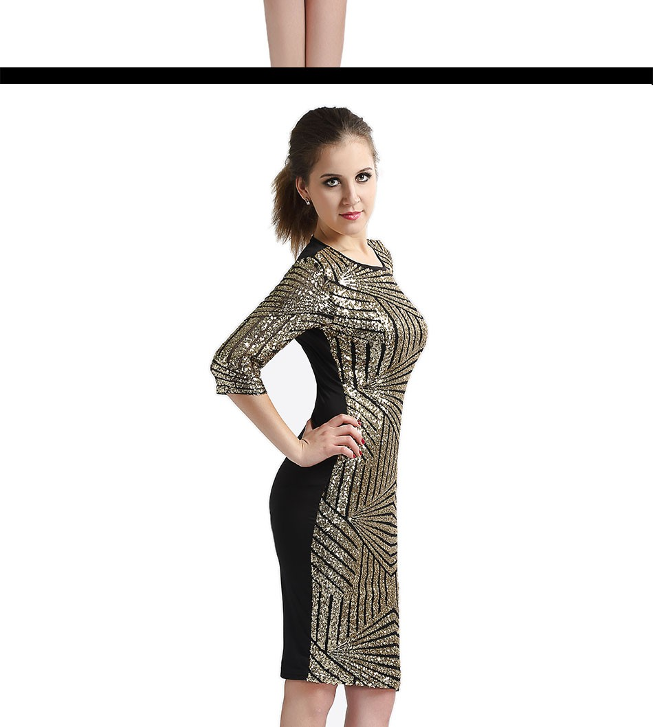 Geometric Golden Sequin Bodycon Pencil Evening Party Dress 2