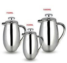 1 stück 350/750/1000 ml edelstahl französisch presse pot trommelform filter kaffee kolben Anti-verbrühen design