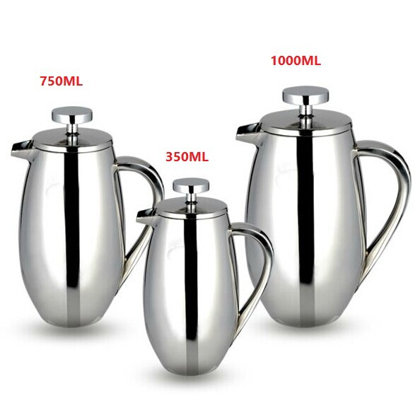 FeiC 1pc 350/750/1000ml stainless steel french press pot drum shape filter coffee plunger Anti scald design