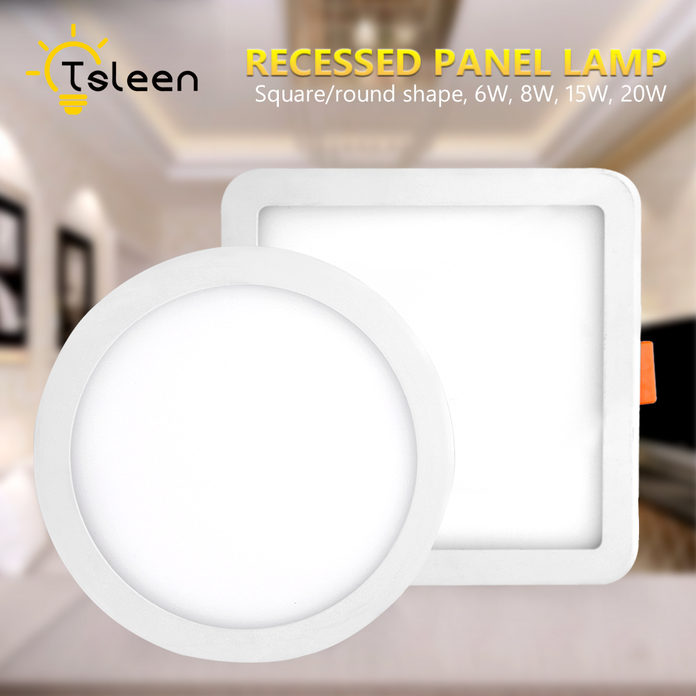 TSLEEN Ultra Thin Led Panel Downlight 6W 8W 15W 20W Round Square LED Ceiling Recessed Light LED Panel Lamp Cool White 6000-6500K square 8w 800lm 6500k cob led white light lamp silver yellow 25 28v