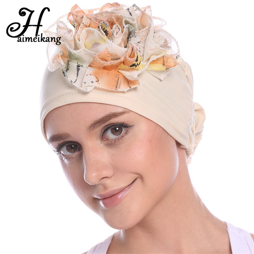 Haimeikang Sweet Elastic Cancer Chemo Hat Chiffon Flowers Head Cap Turban  for Women Headbands Headwrap Hair Accessories-in Women s Hair Accessories  from ... 4d845e4d0ad1