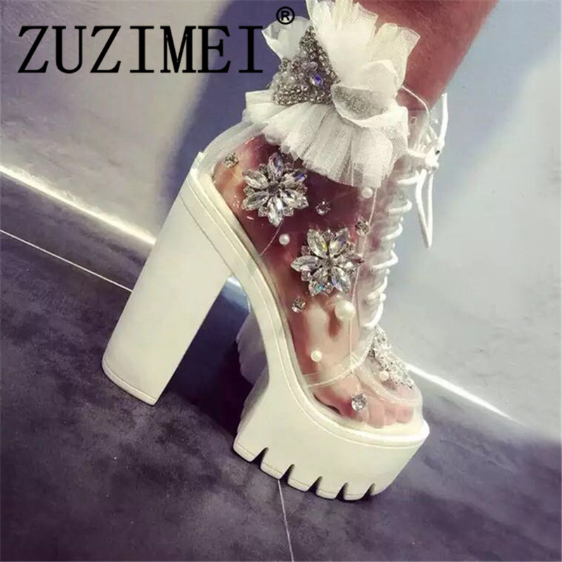 Handmade Thick Heels Platform Women Autumn Boots Transparent Ankle Boots Women Lace Up Rhinestone Lace Flower BootsHandmade Thick Heels Platform Women Autumn Boots Transparent Ankle Boots Women Lace Up Rhinestone Lace Flower Boots
