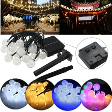 Solar Powered 4.8M 20 LED Waterproof Solar Ball Fairy String Light For Christmas Wedding Party Garden Decor Holiday lights waterproof solar led string colorful holiday light fairy light with 30 leds ball solar lamp for christmas wedding festival party