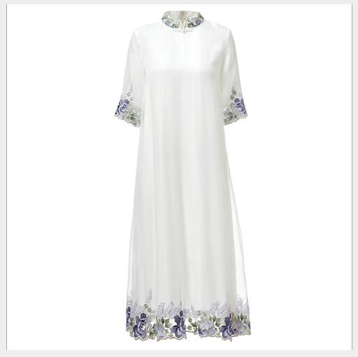 White Style Mode Casual Montant Manches Solide Chinois 2018 Summer New Femmes purple Broderie Robe Élégant Féminine Demi Col qIawRxw4C