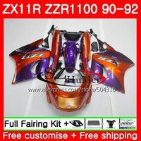 Body For KAWASAKI NINJA ZZR1100 ZX 11R ZX 11R ZZR 1100 5SH2 ZX11 ZX11R 90 91 92 ZX 11R 1990 1991 1992 Fairings Hot Orange purple