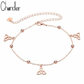 Chandler Knot Anklet Foot Bead Chain Bracelet Rose Gold Pating Metal Copper Sandals Ankle Accessary Valentine's Day Gift image