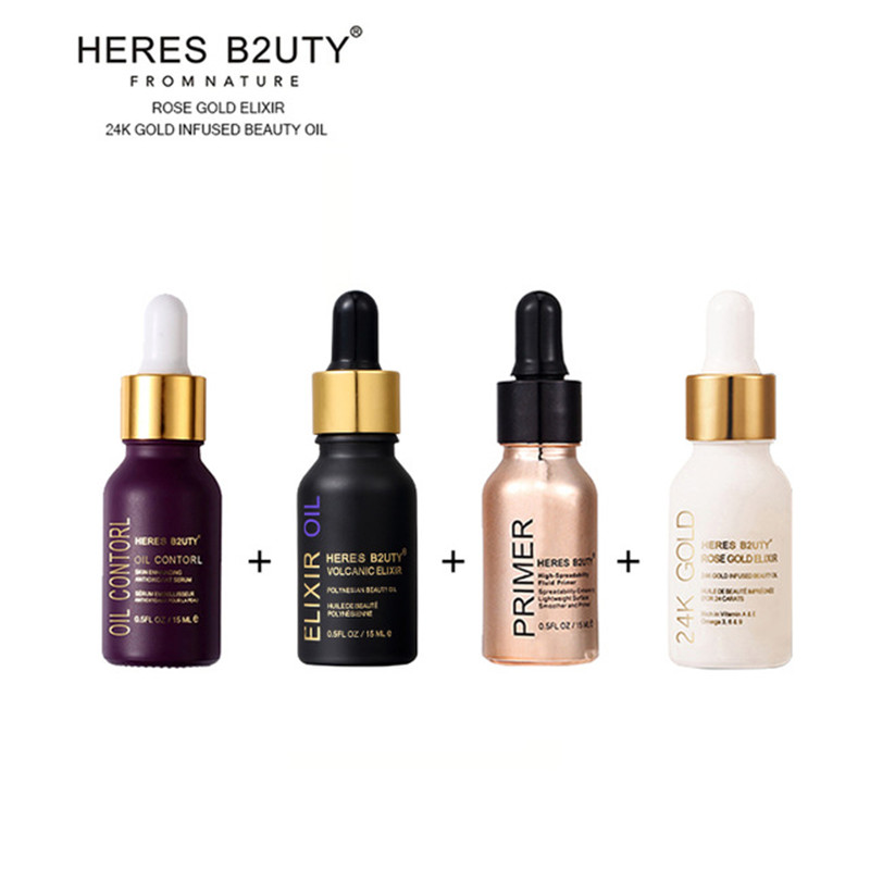 4pcs Set HERES B2UTY base maquiagem ESSENCE OIL+24 K Gold Infused Beauty Oil+ELIXIR OIL+Blurring illuminating Fluid Gel Primer