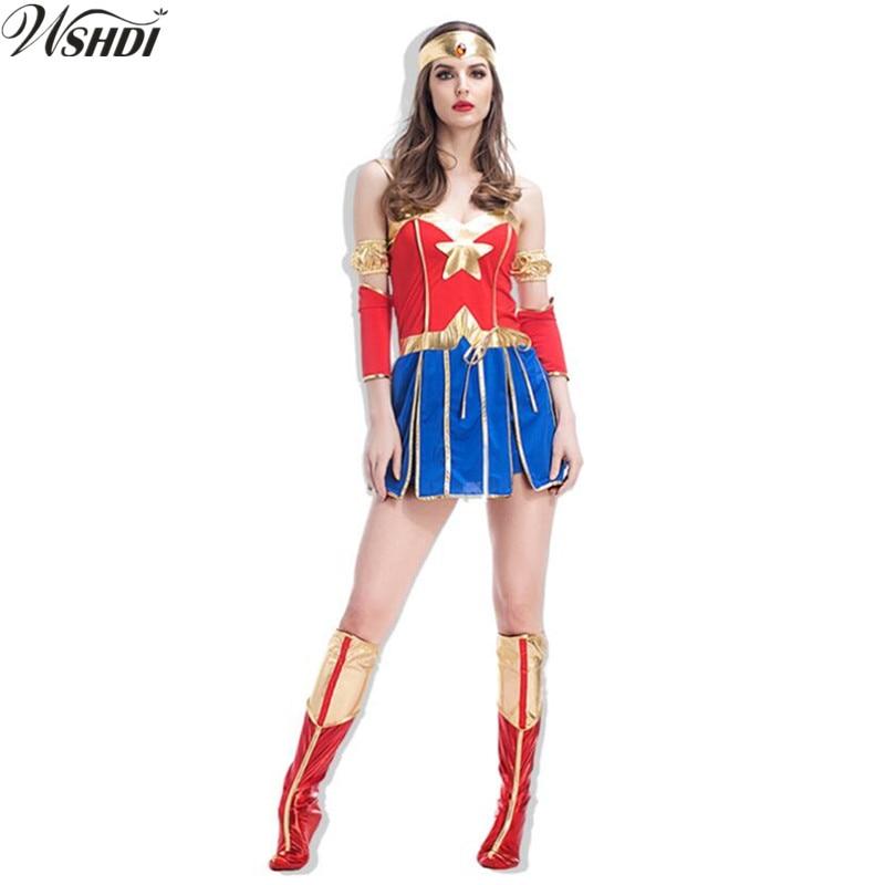 Sexy Super Girl Ladies Wonder Woman Fancy Dress Superhero -4614