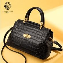 Laorentou Brand Lady Alligator Retro Crossbody Bag Female High Fashion Elegant Shoulder Bag Women Natural Leather Messenger Bags цена 2017