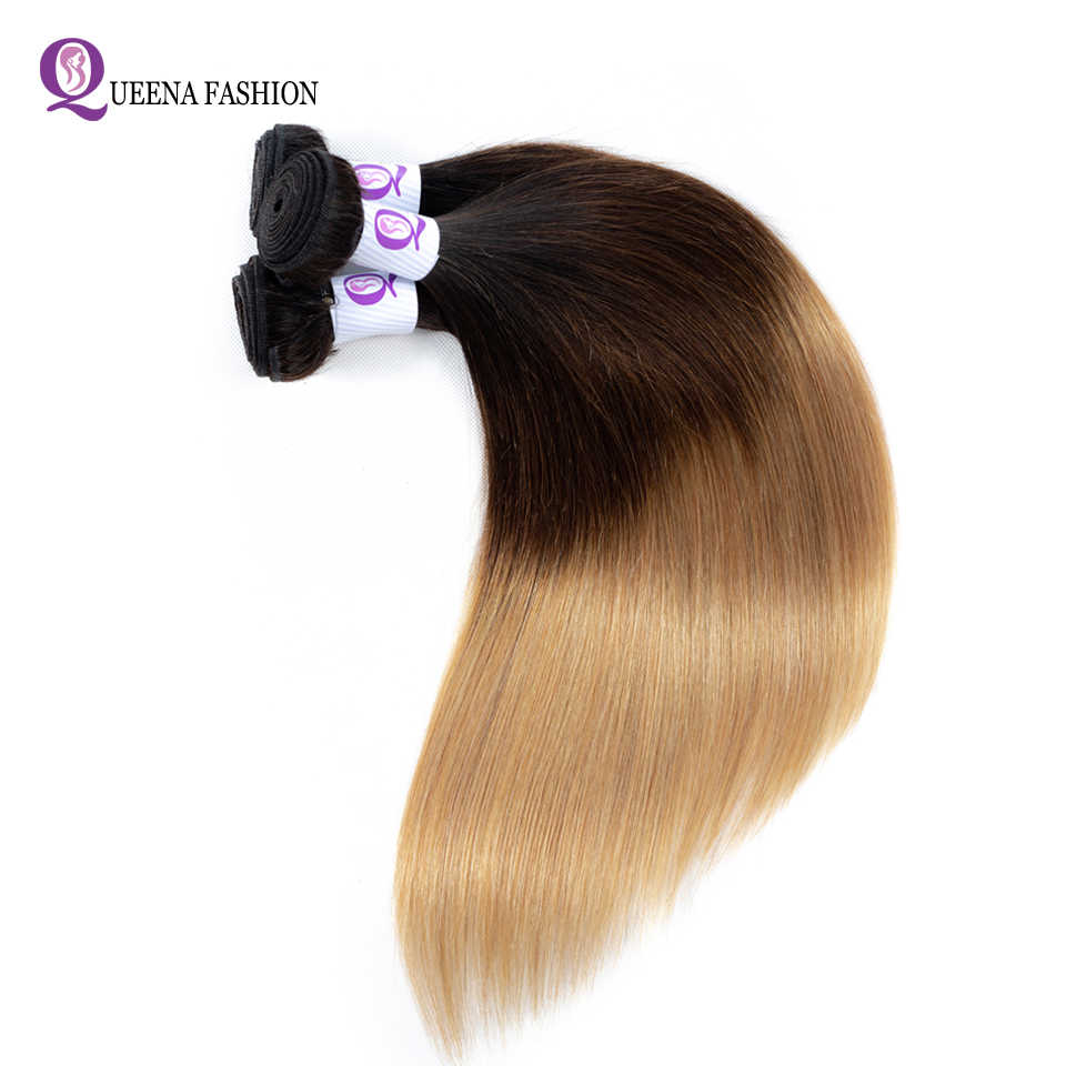 Paquetes de pelo Ombre precoloreado 1B/4/27 tres tonos de Color Ombre camboyano recto cabello humano tejido doble trama 3 paquetes de Oferta