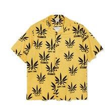 Mens Yellow Shirt 2019 Spring Summer Beach Leisure Harajuku Short Sleeve Print Shirts Loose Fit oversized Clothing
