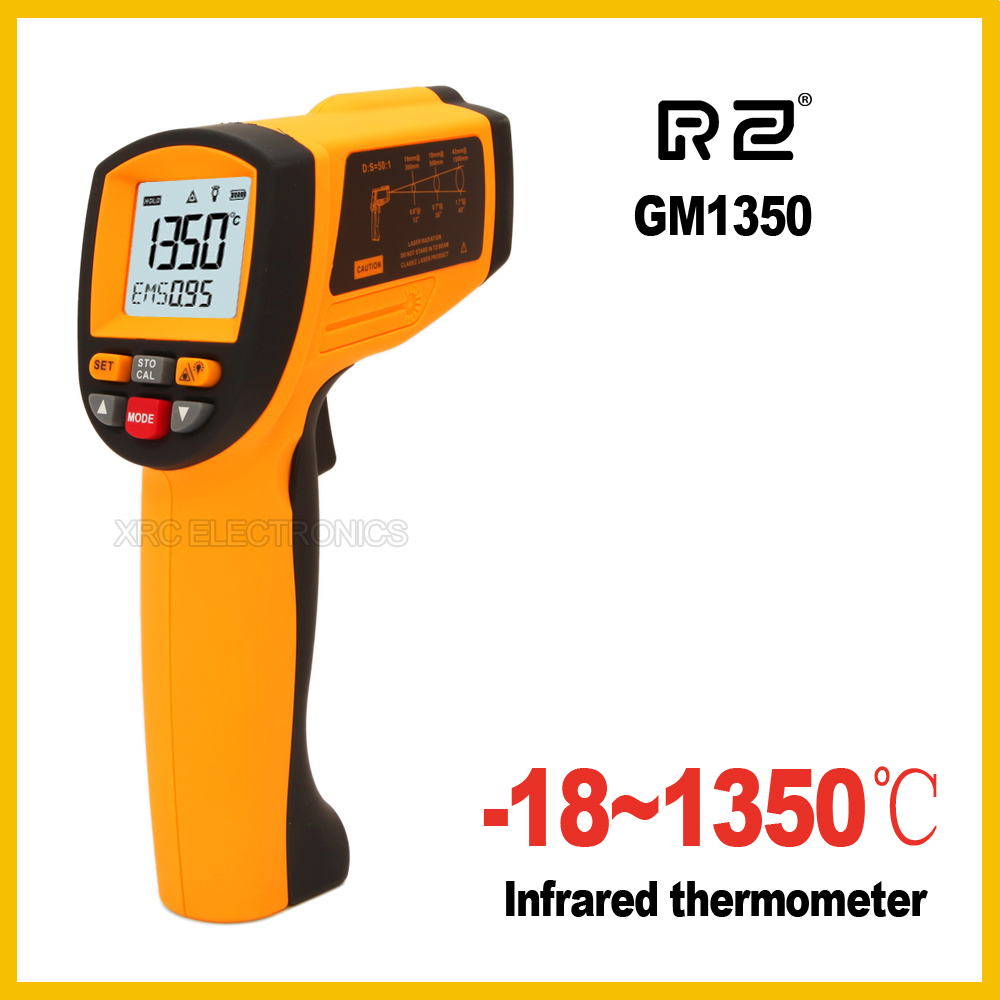RZ GM1350 Non-Contact 50:1 LCD display IR Infrared Digital Temperature Gun Thermometer -18~1350C (0~2462F) 0.1~1.00 adjustable digital infrared ir thermometer laser temperature gun non contact 50 1 with lcd backlight gm1350 18 1350c 50 1