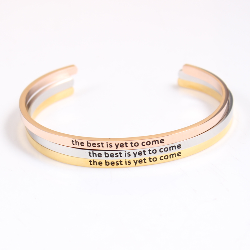 the best is yet to come Stainless Steel Engraved Positive Inspirational Quote Hand imprint Cuff Mantra Bracelet Bangle Best Gift image
