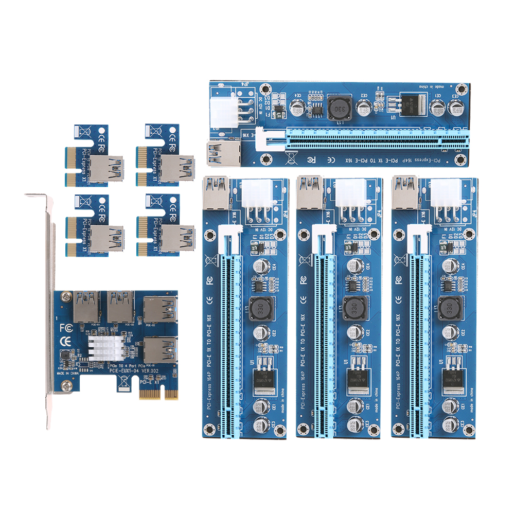 NEW card PCIe 1 to 4PCI express 16X slots Riser Card PCI-E 1X to External 4 PCI-e slot Adapter PCIe Port Multiplier Card 4 slots pci e 1 to 4 pci express 16x slot external riser card adapter board pcie multiplier card for btc miner