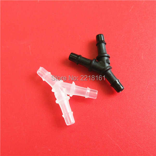 30 pcs/lot Flatbed UV printer suku cadang Plastik konektor tabung tinta/Y bentuk tinta selang pas (untuk tabung 3*2mm)