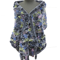 Women Genuine Rex Rabbit Fur Cape Coat Female Knitted Rose Tassel Poncho 7colors/L'190