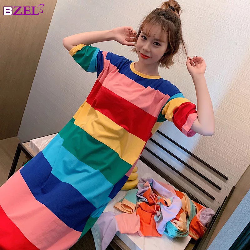 2019 New cotton Rainbow Stripe   Nightgowns   &   Sleepshirts   Sleepwear Plus Size   Nightgowns   Loose Leisure Home Clothing