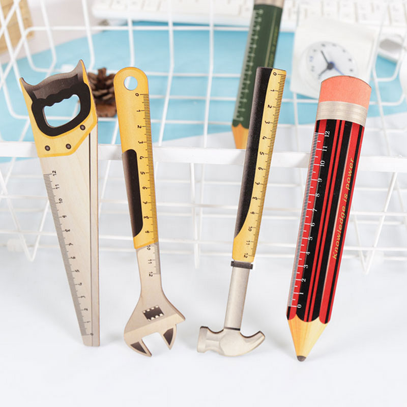 Wooden Tool Pencil Shape Ruler Measuring Tool 12cm Drawing Metric Template Ruler Student Kids Stencil Rule Stationery Supplies