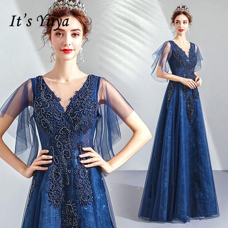 2019 Robe De soirée col en v longue grande taille femmes fête Robe De bal avec manches Vintage bleu Royal dentelle élégante Robe De soirée E223 - 2