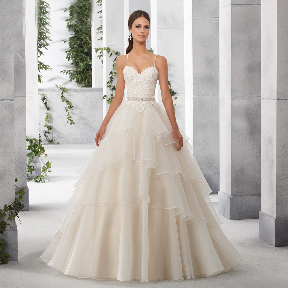 Wedding Ball Gowns With Straps: Sexy Gather Romantic Spaghetti Straps Bridal Gown With