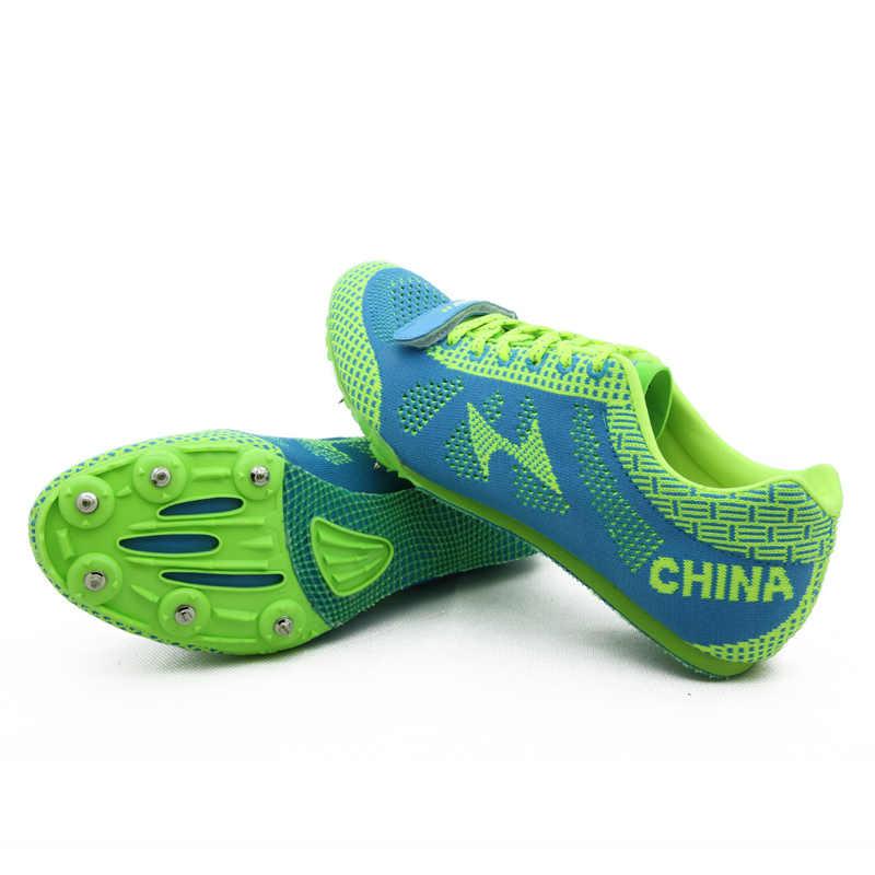 Health leichtathletik für männer spike antidepilation spikes sprint laufschuhe sport professionelle nagel schuhe plus größe 35-45