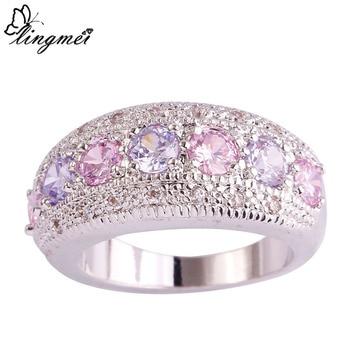 lingmei DropShippng Generous Fashion Lady Pink Cubic Zircon Tourmaline Silver Ring 1