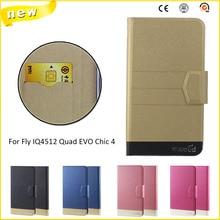Новый Горячий! Fly IQ4512 Quad EVO Chic 4 Случай, 5 Цветов Заводские Высокое качество Ультра-тонкий Кожаный Роскошный Телефон аксессуары