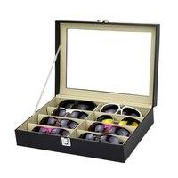 NEW 8 Slots Eyeglasses Sunglasses Faux Leather Storage Organizer Display Case Box