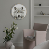 Creative 12 inch Metal Quartz Silent Large High Quality Art Wall Clocks Tiger Wolf Lion Pattern for Wall Decor Living Room Bed