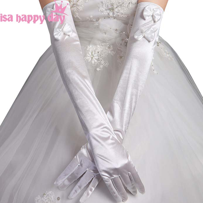 2019 Woman Long Elbow Length Party Bridal Dance Gloves Opera White/Iovry Full Finger Prom Party Wedding Gloves Satin With Bow