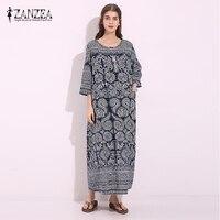 Vintage ZANZEA Women Loose Cotton Linen Floral Print Retro Pockets Maxi Long Dress Half Sleeve Straight
