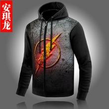 New Winter Coats The Flash hoodie Anime Justice League Hooded Thick Zipper Men Sweatshirts Hot Sale USA EU size Plus size