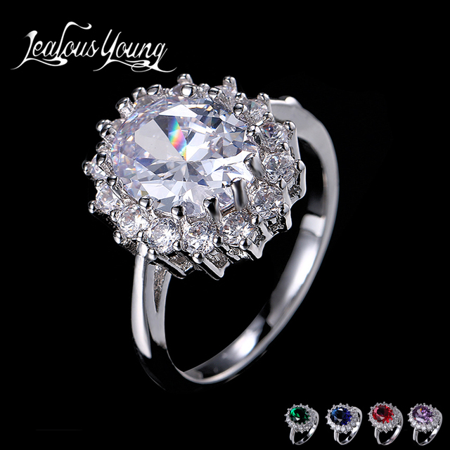 Classic Oval Cubic Zircon Engagement Ring for Party Blue Red Green Stone Crystal