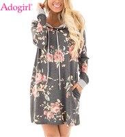 Adogirl安い花柄フード付きドレスプラスサイズ女