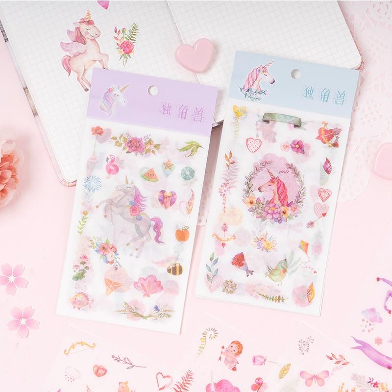 6 Sheets/Pack Cute Rainbow Unicorn Paper Stickers Washi Sticker Computer Decor School Student Stationery