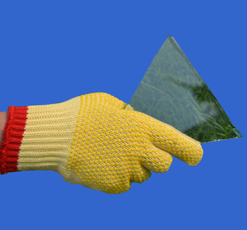 100% Aramid Fiber Glass Works Safety Gloves PVC Dots Slip Abrasion Proof Glass Factory Anti Cut Resistant Work Glove