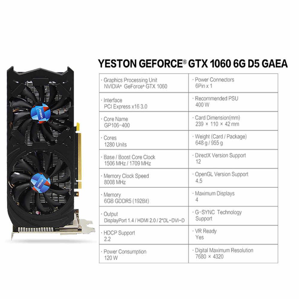 GTX1060 6 GDDR5 192bit Chơi Game Video Card đồ họa hỗ trợ DVI/HDMI