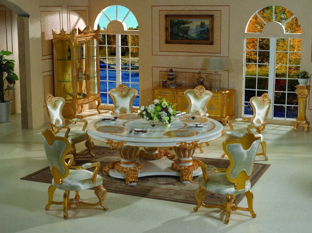 italian style furniture solid wood hand carved dining room free shipping in dining room sets. Black Bedroom Furniture Sets. Home Design Ideas