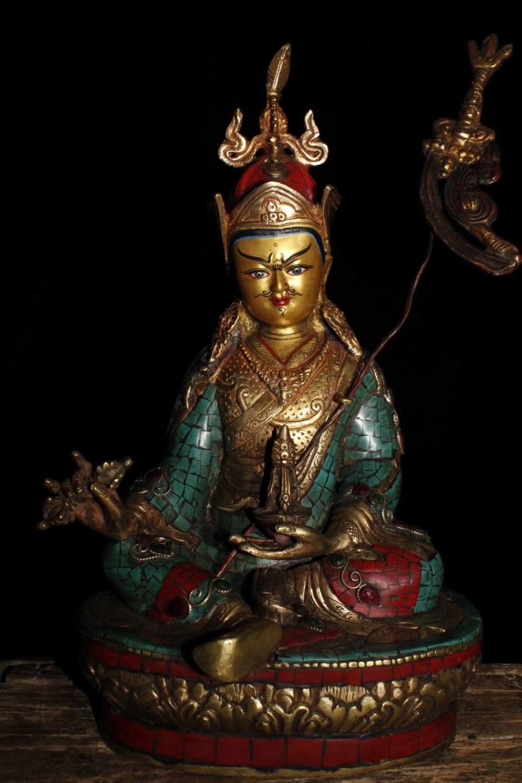 Old Tibetan Buddhism Handmade Pure Copper Inlaid Semi-precious Stones Turquoise Padmasambhava Sculpture