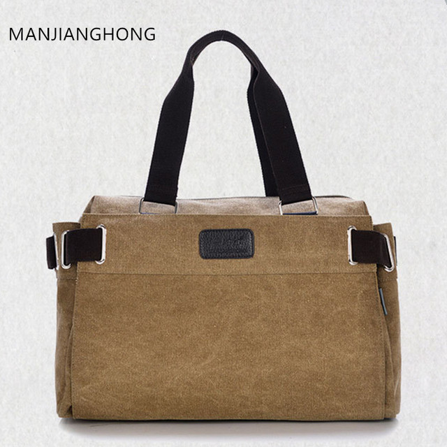 Manjianghong Fashion Canvas Men Luggage Bag Carry On Travel Duffel Weekend Overnight