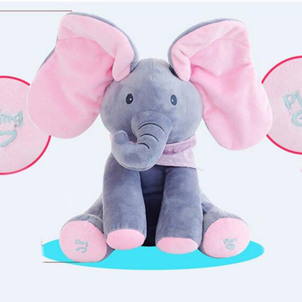 Peek-a-boo Plüsch Elefant Peekaboo Elefanten Elektrische Blinkt mit Konzert Singen Grau Plus Rot Englisch Version Gefüllte spielzeug