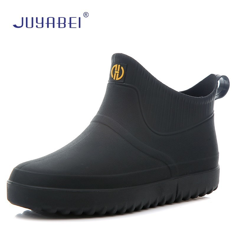 Men's Solid Color Chef Shoes Flat Short Tube Kitchen Waterproof Boots Soft Bottom Hotel Restaurant Canteen Work Shoes Non-slip