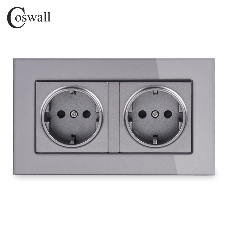 Coswall 16A Double EU Standard Wall Socket Crystal Glass Panel Power Outlet Grounded With Child Protective Door Grey Black